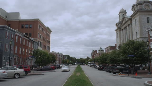 ws view of small town street / harrisburg, pennsylvania, united states - pennsylvania stock videos and b-roll footage