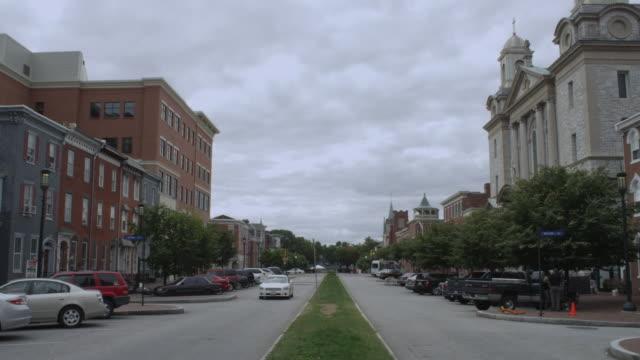 ws view of small town street / harrisburg, pennsylvania, united states - pennsylvania stock videos & royalty-free footage