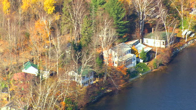 MS AERIAL TU PAN ZI View of small town surrounded by autumn color at near Island Pond / Vermont, United States