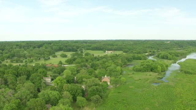 WS AERIAL POV View of Smith Family House with Mississippi River / Nauvoo, Hancock County, Illinois, United States