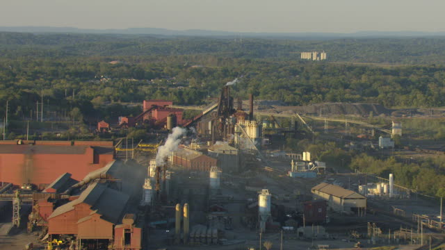 ws aerial view of smoke stacks and fairfield works steel plant / alabama, united states - made in the usa short phrase stock videos & royalty-free footage