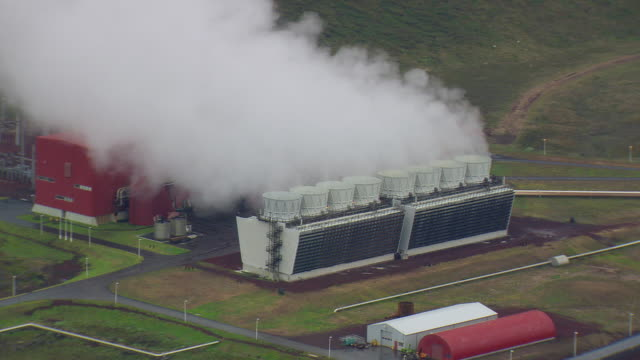 WS AERIAL ZI ZO View of smoke wind in air at Geothermal power station near Krafla / Iceland