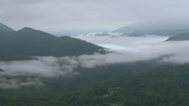 WS AERIAL POV View of Smoky Mountains with forest area and fog / Carter County, Tennessee, United States