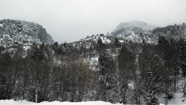 ws pan view of snow falling on mountains / payson, utah, usa - ペイソン点の映像素材/bロール