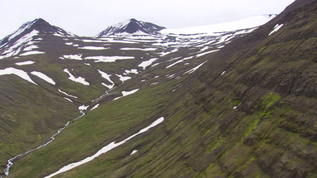 WS AERIAL View of snow on mountain / Iceland