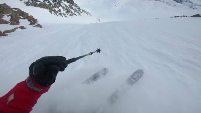 pov view of snow skiing on in fresh powder snow in the mountains. - cold temperature stock videos & royalty-free footage