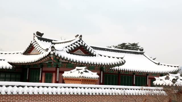 View of snow-covered Gyeongbokgung Royal Palace (Korean National Treasure 223)