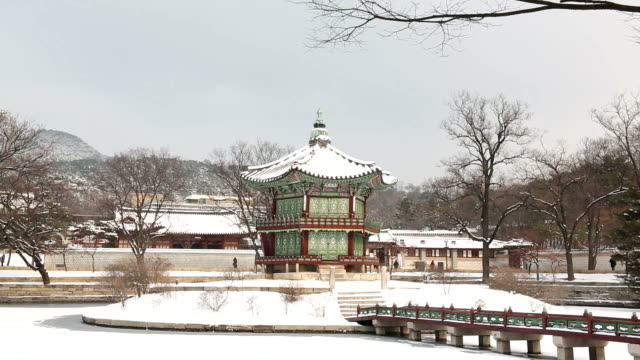 View of snow-covered Hyangwonjeong Pavilion and bridge