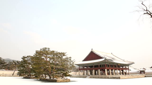 View of snow-scene of Gyeonghoeru Pavilion (National Treasures of South Korea 224) in Gyeongbokgung Royal Palace (Korean National Treasure 223)