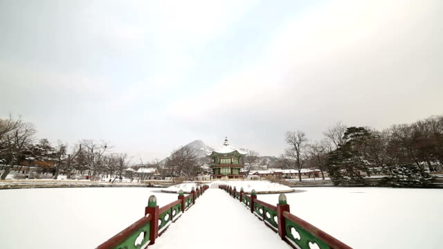 View of snow-scene of Hyangwonjeong Pavilion and bridge