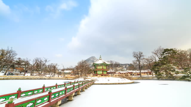 View of snow-scene of Hyangwonjeong Pavilion and tourists