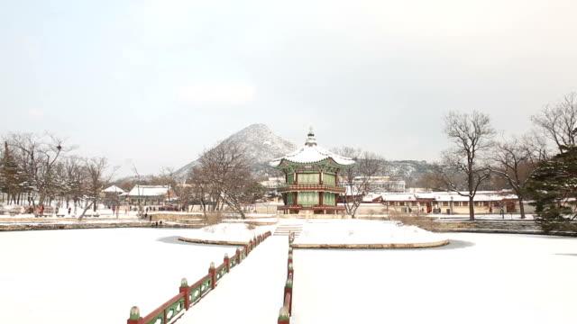 View of snow-scene of Hyangwonjeong Pavilion in Gyeongbokgung Royal Palace (Korean National Treasure 223)