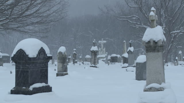 ms view of snowy cemetery in blizzard in winter evening  / ellicottville, new york, canada  - cemetery stock videos & royalty-free footage