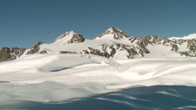 WS View of Snowy mountain landscape / Union Glacier, Heritage Range, Ellsworth Mountains, Antarctica