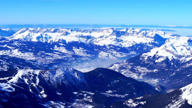 View of snowy mountains at Mont Blanc (highest mountain in Alps)