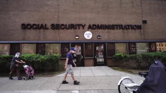 view of social security administration following second-quarter gdp plunged by worst-ever 32.9% amid virus-induced shutdown - 社会保障点の映像素材/bロール