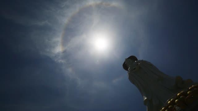 view of solar halo phenomenon on may 4, 2020 in sanya, hainan province of china. - light natural phenomenon stock videos & royalty-free footage