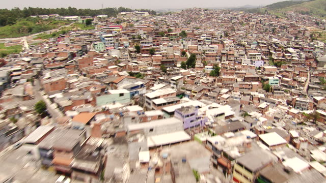 WS AERIAL View of some Brazilian favelas / Sao Paulo, Brazil