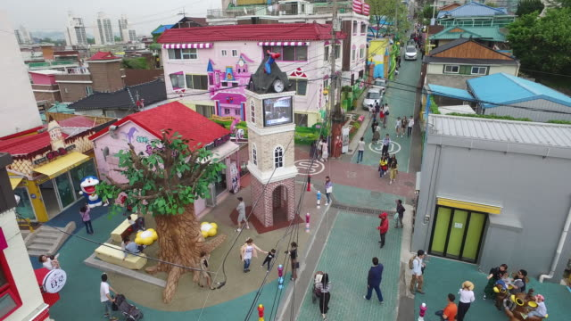 View of Songwol-dong Fairy Tale Village and Clock Tower in Incheon, South Korea
