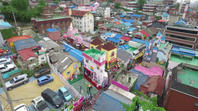 view of songwol-dong fairy tale village in incheon, south korea - preschool student stock videos & royalty-free footage
