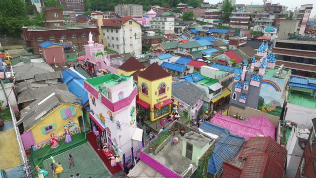 view of songwol-dong fairy tale village in incheon, south korea - child care stock videos & royalty-free footage