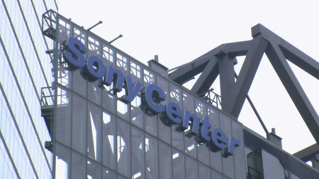 cu view of sony center at potsdamer platz / berlin, germany - scrittura occidentale video stock e b–roll