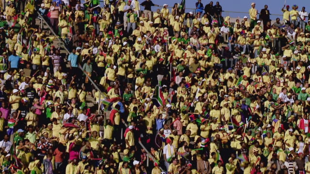 WS View of South African fans during soccer match / Johannesburg, Gauteng, South Africa