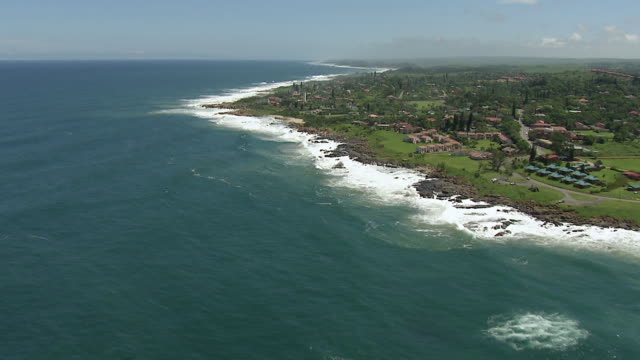 ws aerial view of south coast of durban / durban, kwazulu natal, south africa - durban stock videos and b-roll footage