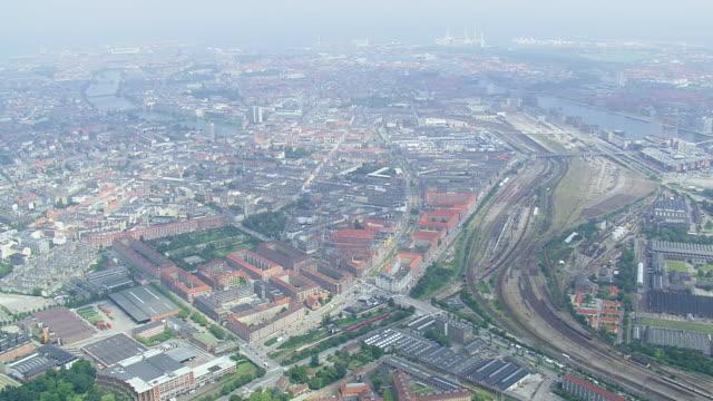 ws aerial view of south copenhagen and railway tracks / copenhagen, denmark - oresund region stock videos & royalty-free footage