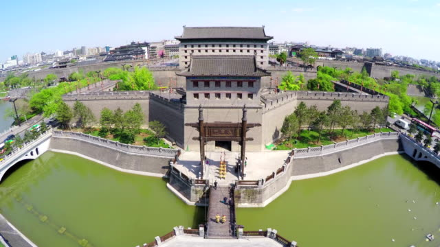 WS AERIAL View of South Gate of city wall / Xi'an, Shaanxi, China