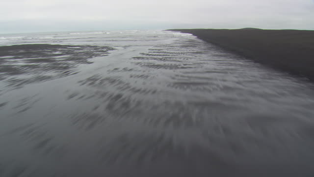 WS AERIAL View of Southern Iceland coast near Kross / Iceland