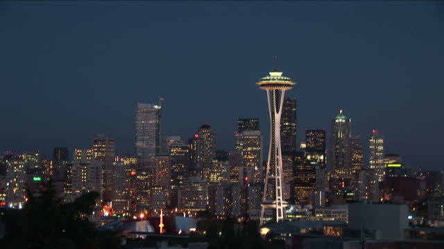 view of space needle tower at night in seattle united states - washington mutual tower stock videos & royalty-free footage