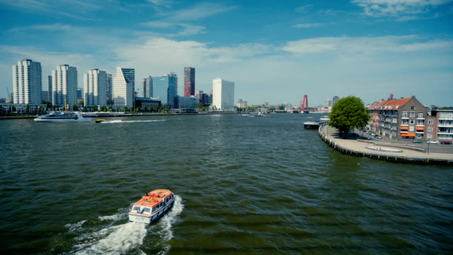 view of  speed boat on river in rotterdam - rotterdam stock videos & royalty-free footage