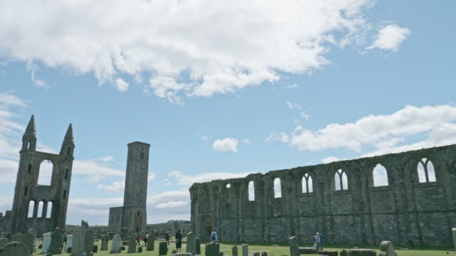 view of st andrews cathedral, scotland - st. andrews scotland stock videos & royalty-free footage