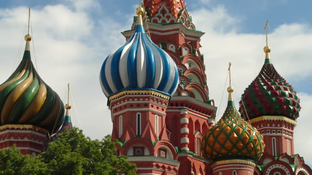 ms t/l view of st basil's cathedral / moscow, russia - roter platz stock-videos und b-roll-filmmaterial