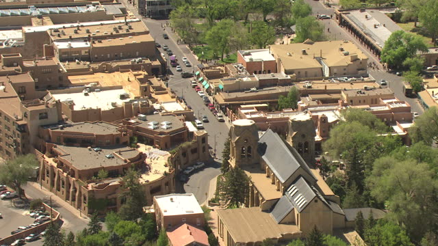 WS AERIAL ZI View of St Francis Cathedral from behind and MS plaza / Santa Fe, New Mexico, United States