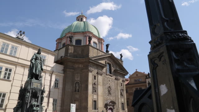 view of st francis of assisi church, prague, czech republic, europe - st frantisek church stock videos and b-roll footage