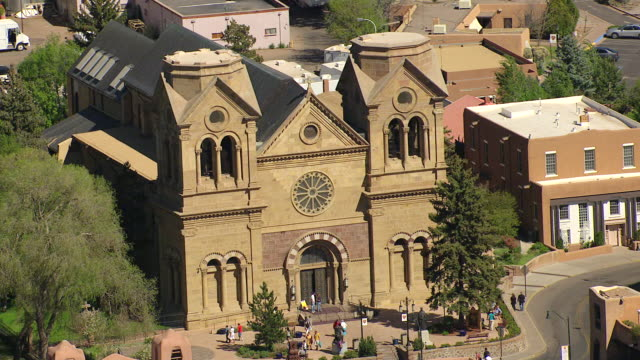 WS AERIAL View of St Francis Roman Catholic Cathedral / Santa Fe, New Mexico, United States