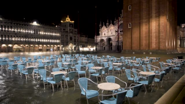 view of st. mark square in venice, italy, on june 5, 2020. unusually high tide hit the canal city of venice, in june. the italian civil protection... - 2 5 months stock videos & royalty-free footage