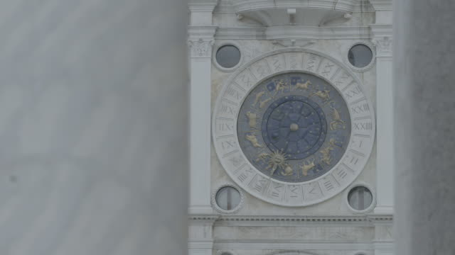 CU View of St Mark's Clock on St Mark's Clocktower / Venice, Italy