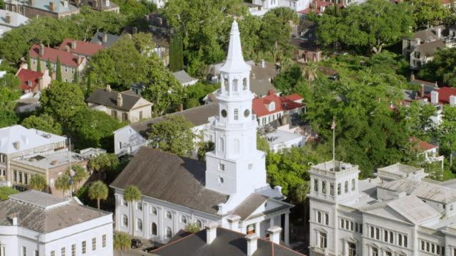 MS ZO AERIAL POV View of St. Michael's Church / Charleston, South Carolina, United States