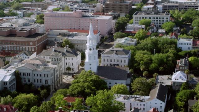 WS ZI AERIAL POV View of St. Michael's Church / Charleston, South Carolina, United States