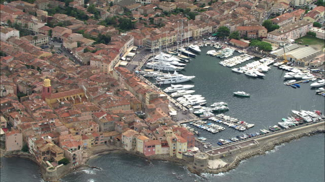 aerial, view of st tropez, provence-alpes-cote d'azur, france - var stock videos & royalty-free footage
