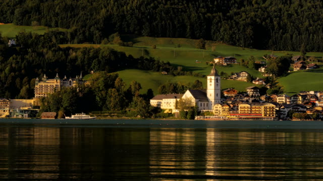 View of St Wolfgang across the Lake