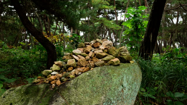 view of stacked rocks in mt. nam in gyeongju - north gyeongsang province stock videos and b-roll footage