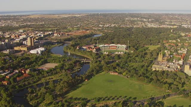 ws aerial zi ds view of stadium / adelaide, south australia, australia - アデレード点の映像素材/bロール