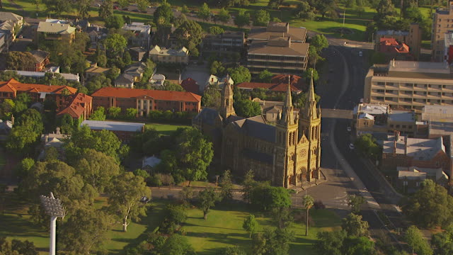 ws aerial zi zo ds view of stadium and church / adelaide, south australia, australia - church stock videos & royalty-free footage