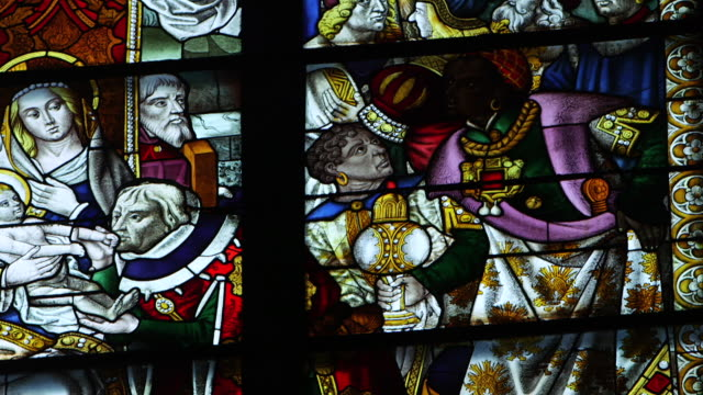 CU PAN View of stained glass inside Cologne Cathedral / Cologne, Germany