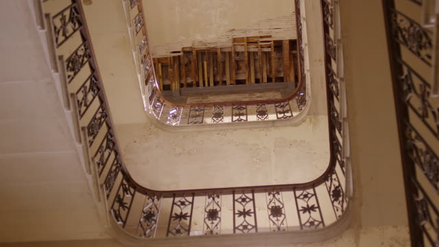MS DS View of staircase and destroyed ceiling at Gosford House / East Lothian, United Kingdom