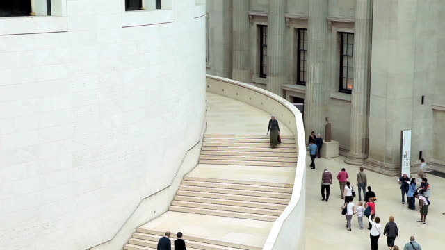 view of staircase great hall british museum - british museum stock videos & royalty-free footage